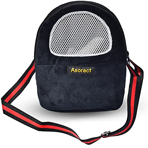 Asoract Hamster Carrier Bag, Upgraded Small Animal Bonding Soft Hedgehog Pouch Portable Outgoing Travel Bag with Adjustable Strap and Breathable Mesh for Squirrel Mice Sugar Glider Etc (L Black)