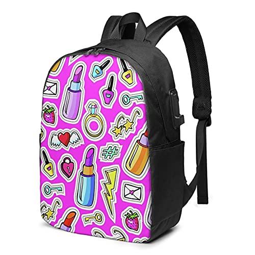 BYTKMFD Mochila de viaje con patrón de palmera, mochila para ordenador portátil, para hombre y mujer, extra grande, antirrobo, con puerto de carga USB de 17 pulgadas, Doodles Pink, Talla única
