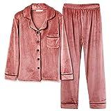 パジャマ レディース ルームウェア 長袖 もこもこ 前開き 衿付き 上下セット ロングパンツ 部屋著 寢巻き 暖かい 可愛い 春秋冬