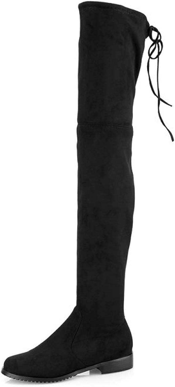 SERAPH 381 Damen Stiefel Overknees Mit Flach Schleifen Flandell