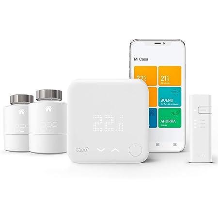 tado° V3+ - Kit básico de termostato inteligente para controlar varias habitaciones, incluye 2 termostatos inteligentes para radiadores (montaje horizontal), instalación manual fácil