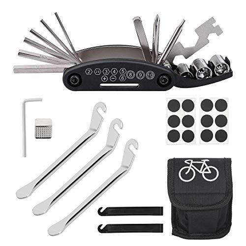LAITER Kit de Réparation pour Vélo Outil Réparation 16 en 1 Levier de Pneu Patchs Adhésif Noir Râpe Métallique pour Bicyclette Emsemble d'entretien VTT en Acier Inoxydable