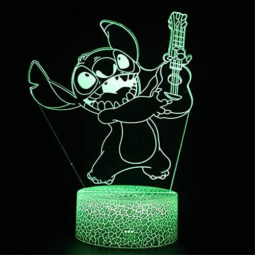 Lilo & Stitch - Luz de noche 3D para niños, lámparas de cumpleaños, día festivo, Halloween, ideas de regalo para niños, adolescentes, novios