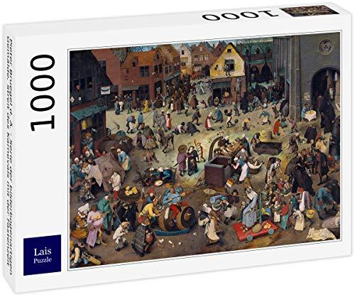 Lais Puzzle Pieter Bruegel el Viejo - Serie de Pinturas en Forma de Arco, La Disputa Entre el Carnaval y la Cuaresma 1000 Piezas