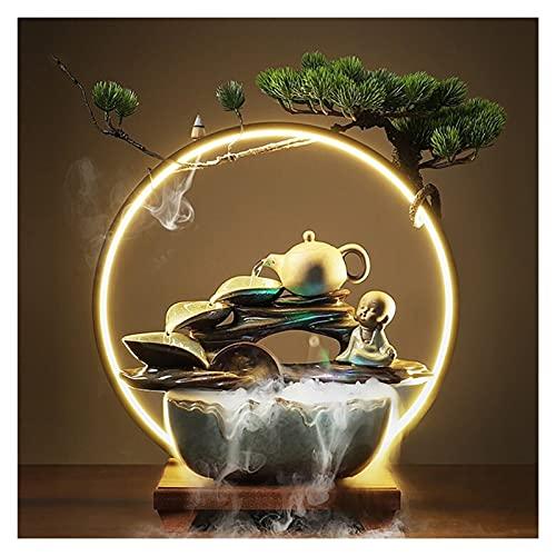 zongshengshop Fuente de Escritorio Cerámica de la Mesa de Agua Fuente de Agua Decoración Zen Cubierta de Agua de Mesa Interior con LED LED - para Mesa de Mesa de Mesa Dormitorio Fuente de la Mesa