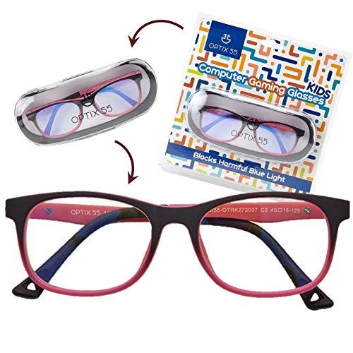 Kids Blue Light Blocking Glasses - Anti Eyestrain - Computer Video Gaming Eyeglasses for Boys & Girls - Bendable & Unbreakable Flexible Pink Square Frame Eye Glasses (Pink)