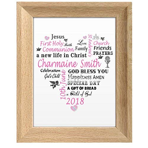 MissyJulia Ltd First Holy Communion Gift | Personalised Print Word Art Gift Boy Girl UNFRAMED Card
