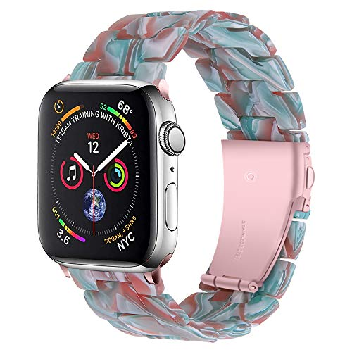 QINJIE Harzarmband Kompatibel mit Apple Watch 38mm 42mm, mit Edelstahlschnalle Damen Herren Armband Ersatz Armband,8,42MM