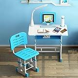 4YANG Scrivania Inclinabile per Bambini Multifunzionale Regolabile Set di sedie da scrivania per Bambini Set Perfetto Luce di Protezione per Gli Occhi a LED, Desktop Opaco, Supporto per la Lettura