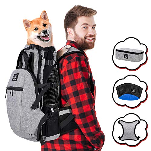 Pro Plums 2021 Upgrade Dog Carrier Backpack for Small and Medium Dogs Pet Sport Sack Air for Walking Hiking and Traveling with Detachable Storage Bag Free Booster Block and Dog Bowls (M)
