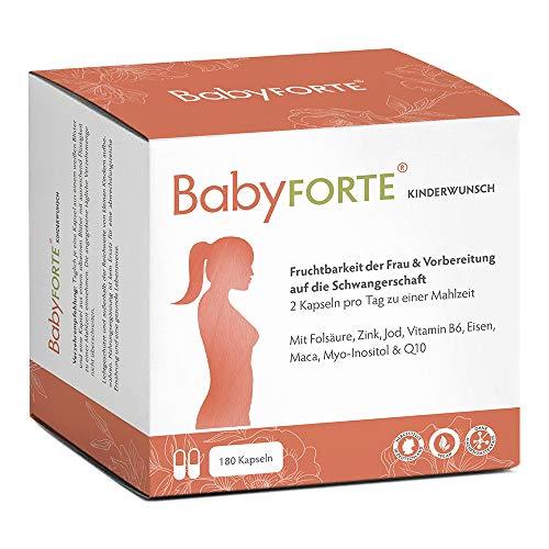 BabyFORTE Kinderwunsch Vitamine - 180 Kapseln + Vegan + 800 mcg Folsäure, Maca, Q10