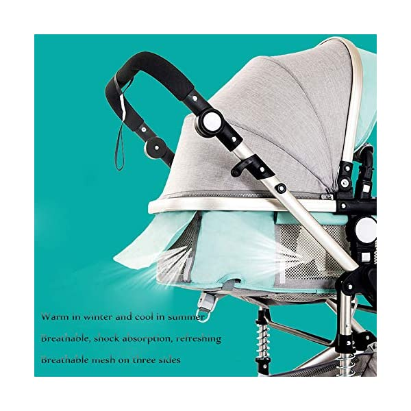 HHRen Multi-Purpose Baby Stroller High Landscape Multi-Function Sitting And Lying Two-Way Four-Wheel Shock Absorber Folding Newborn Child Trolley Baby A,Brown HHRen ✔ The push handle can be adjusted in multiple levels, high-quality linen fabric, stylish atmosphere, water absorption and dirt resistance, and UV protection; bold and thick aluminum alloy frame, waterproof and rustproof; three-sided mesh ventilation, breathable, refreshing ✔ Triple shock absorber: front wheel built-in spring shock absorber, wear-resistant EVA rear wheel, independent frame shock absorber, good shock absorption effect, good grip, strong shock absorber at the root of the frame, durable And good flexibility ✔Exquisite design, better safety performance: one-button release of the seat belt, the armrest can be opened, the rear storage bag, the enlarged storage basket, the non-slip thickened pedal 6
