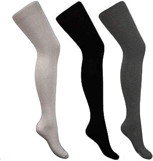 3 pares de Calcetines Hasta la Rodilla para Mujer | Sobre la Rodilla Largos Señoras Invierno | Estiramiento Algodón Calcetines De La Rodilla(negro, gris claro, gris oscuro)