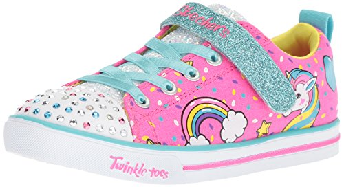Skechers Kids Girls Sparkle LITE-Unicorn Craze Sneaker, neon Pink/Multi, 12 Little Kid