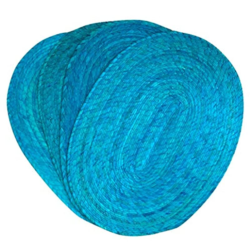 Turquoise Placemats - Set of 4 - Mexican Style - Eco-Friendly, Handmade, Woven, Braided and Reversible - Easy to Clean - Great for Dining Table/Kitchen Indoor/Outdoor use - Mantel Ovalado Turquesa vc452743955