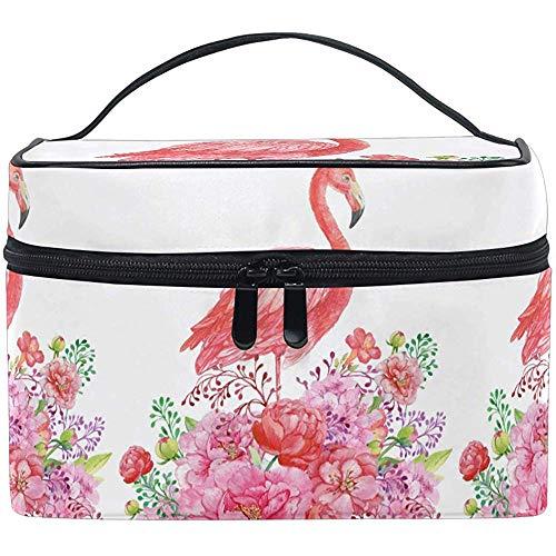 Cartoon Flamingo Trousse de Maquillage de Toilette Brosse Train Case Tropical Flower Zip Transporting Portable Storage Pouch Bags Box