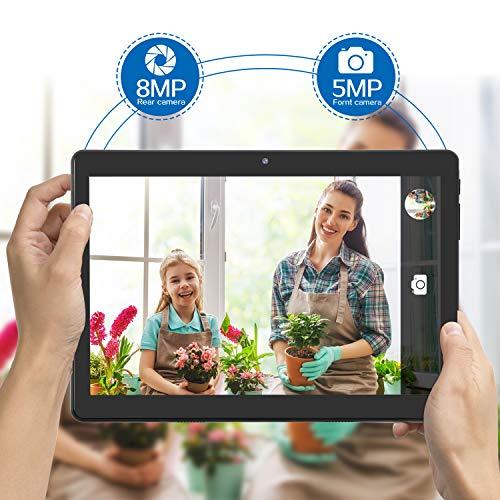 10-Zoll-Android-Tablet mit ultraschnellem Android 9.0, 4 GB RAM, 64 GB ROM - Google GSM-Zertifiziert, ultradünn 8000 mAh / 5 MP 8 MP/Type- C(schwarz)