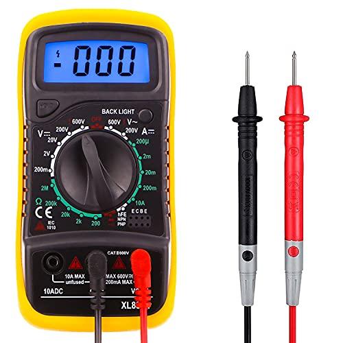Xl830l Mini Commercial/résidentiel multimètre numérique écran LCD rétroéclairé Mesure testeur de tension, courant DC, résistance, continuité, la fréquence