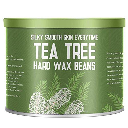 Tea Tree Essential Oil Yeelen Essential Oil Hard Wax Beans Hair Removal Wax Beads with 10 Applicator Sticks for Facial Body Brazilian Bikini At Home Waxing