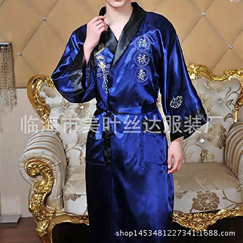 Nachtkleding zijden dragen geborduurde draak nachtjapon aan beide zijden, tang kostuum, oude kostuum, gewaad, kimono, nachtjapon, mannen buitenlandse handel