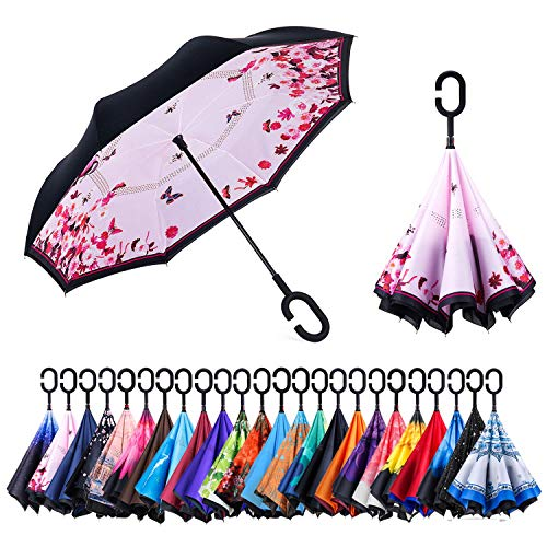 Newsight Reverse Umbrella, Double Layer Inverted Umbrella Upside Down, Self Stand, C Shape Handle, Inverse Inside Out Folding for Car, Windproof, Waterproof, Sun Protective (First Love)