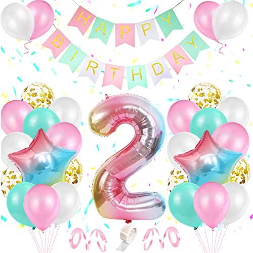 Decoración de Cumpleaños 2 Año Rosa, TOLOYE Decoración Cumpleaños Niña 2 año, Globos de Cumpleaños Niña con pancarta de Happy Birthday Globos Confeti Aluminio para Niña Niño