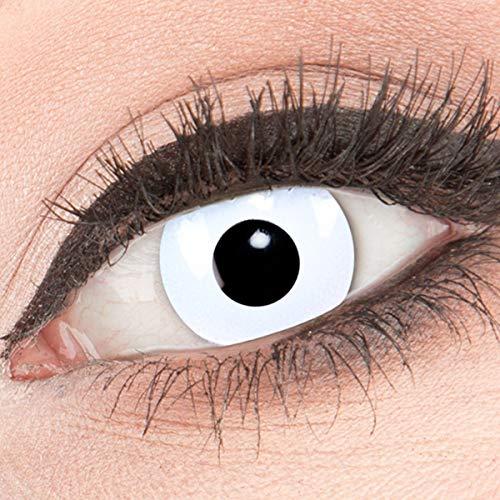 Farbige weiße Crazy Fun Kontaktlinsen Zombie White Out mit gratis Linsenbehälter + 60ml Pflegemittel Topqualität zu Karneval und Halloween