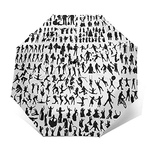 Paraguas Plegable Automático Impermeable Músico, bailarín, Gente, Paraguas De Viaje Compacto A Prueba De Viento, Folding Umbrella, Dosel Reforzado, Mango Ergonómico
