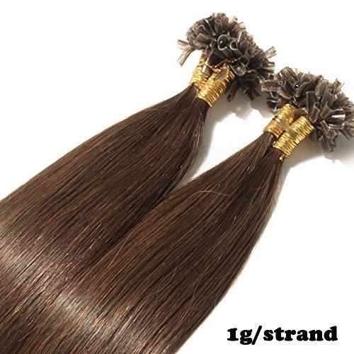 Extension Capelli Cheratina Veri 1 Grammo per Ciocca 50g/pack U Tip Remy Hair Umani Naturali Lisci (40cm #4 Marrone Cioccolato)
