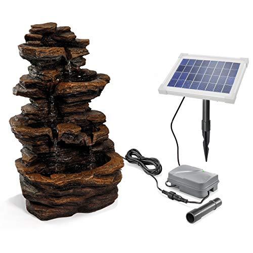 Solaire Puit de Jardin Rock Fontaine - Ultra Large 5 Watt Module Et 1,5 Ah Stockage la Batterie - 315 x 230 X 475 MM - Jeux D'Eau Kaskadenbrunnen Solaire, Esotec 101316