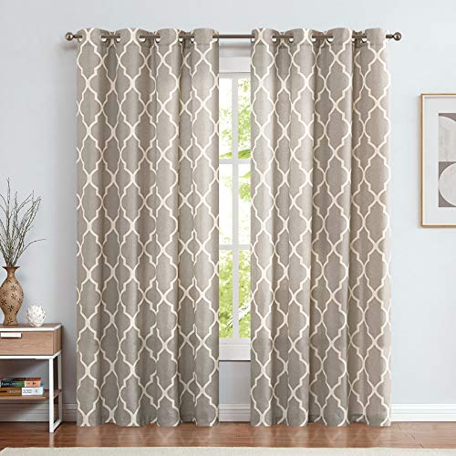jinchan Quatrefoil Linen Blend Curtains Moroccan Tile Pattern Print Curtain Window Curtain Panels for Living Room Geometry Lattice 2 Panels 50' W x 84' L Soft Grey