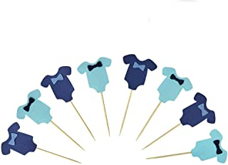PROPARTY Blue Baby Jumpsuits Baby Shower Cake Cupcake Toppers Picks for Birthday Boys Party Decorations 24 PCS
