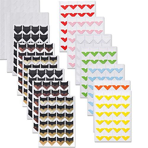 PuTwo Esquinas de Fotos, 15 Hojas 516 Piezas Esquinas de Fotos Autoadhesivas, Esquinas de Montaje de Fotos, Pegatinas de Fotos, Esquinas de Fotos para Álbumes de Recortes, Álbum de Fotos - 11 Colores