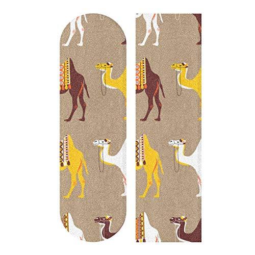 N\A 33.1x9.1inch Sport Skateboard al Aire Libre Papel de Lija Camello Animal Africano en el Desierto Imprimir Patinetas Impermeables Papel de Lija para Tabla de Baile Plataforma de Tablero de ba