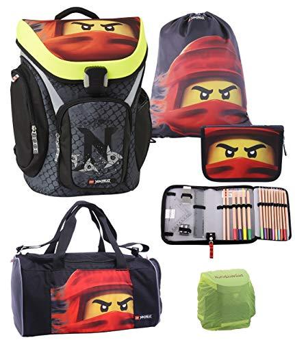 Familando Lego Schulranzen-Set Ninjago Explorer 5 TLG. mit Federmappe, Sporttasche und Regenschutz Spinjitzu Team Ninja Kai