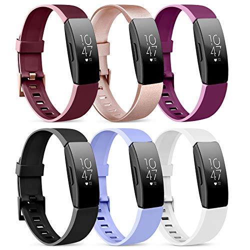 Oumida 6 Pack Kompatibel für Fitbit Inspire HR Armband/Fitbit Inspire Armband, Silikon Sport Klassisch Ersatzarmband Kompatibel für Fitbit Inspire/Fitbit Inspire HR (C, Large)