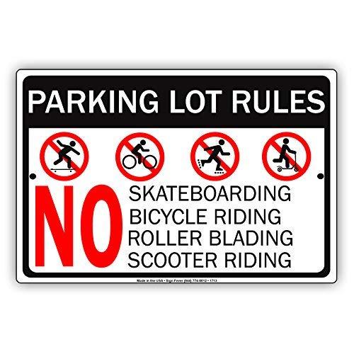 HSSS Parking Lot Regels Geen Skateboarden Fiets Riding Roller Blading Scooter Riding Beperking Waarschuwing Kennisgeving Aluminium Metalen Tin 8x12 inch Teken Plaat