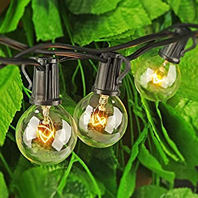 Romasaty 100FT String Lights, G40 Outdoor String Lights Edison Light Bulbs Clear Globe Lights for Backyard Patio Lights Indoor/Outdoor Commercial Decoration -5 Watt/120 Voltage/E12 Base -Black Wire