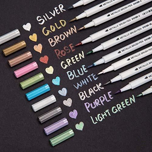 Bianyo Metallic Brush Marker Pens, Set of 10 Colors Metallic Calligraphy Painting Pen for Card Making, Rock Painting, Glass, Metal, Wood,Script Lettering, DIY Photo Album