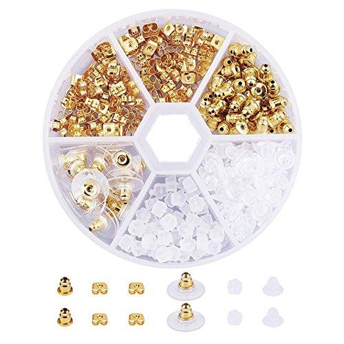 PandaHall 5 Style Ohrstecker-Ohrstecker aus Messing und Kunststoff in Gold-Sets ca. 250 Stück in Einer Schachtel für die Schmuckherstellung