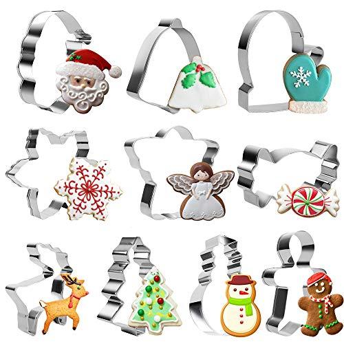 Sporgo Ausstecher Weihnachten, Ausstechformen Weihnachten 10-teilig,Keksausstecher Weihnachten Edelstahl, Plätzchenausstecher, Cookie Cutter, zum Ausstechen von Plätzchen, Keksen, Fondant (10)