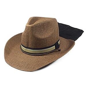 麦わら帽子 メンズ 150遮光マニッシュタレ付き(ブラウン) ガーデニング 帽子 農作業 UV 日よけ ゴルフ ハット おしゃれ UVカット 紫外線 日焼け つば広 春 夏 首 首ガード ブラウン