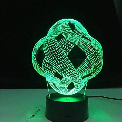 Lámpara de ilusión 3D Mood Led Luz de noche Abstract 16 colores Vision Decoration Touch Usb Black Base Magic Vacation-Con control remoto