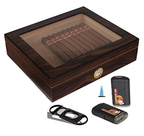 Humidorset Wood-Editon Sichtfenster Polymerbefeuchter inkl. Lifestyle-Ambiente Tastingbogen