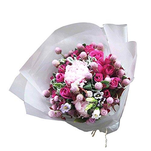 Weanty - Papel de regalo para ramo de flores (20 unidades, resistente al agua, resistente al desgarro, 20 hojas, 60 x 60 cm), color blanco