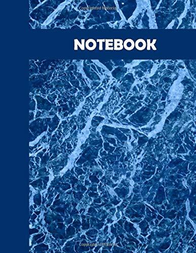 NOTEBOOK: Agenda, quaderno a righe per appunti e disegni - copertina blu marmo - 120 pagine - Dimensioni: 21,6cm x 27,9 cm (Italiano)