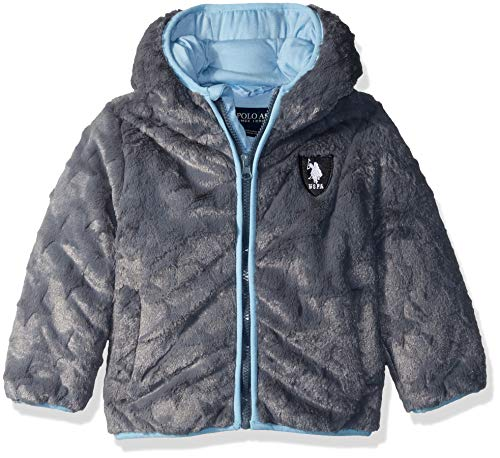 US Polo Association Baby Boys Star Plush Jacket, Charcoal, 12M