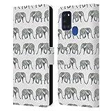 Head Hülle Designs Offizielle Charlotte Winter Elefant Weiss Tiermuster Leder Brieftaschen Handyhülle Hülle Huelle kompatibel mit Samsung Galaxy A21s (2020)
