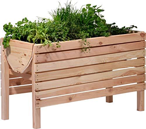 dobar 58196FSC - Jardinera Alta (barnizada, Incluye lámina para Plantas, 100 x 45 x 60 cm, Pino), Color Natural