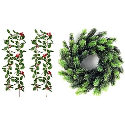 Cuasting Guirnalda de 2 bayas rojas de Navidad con coronas de Navidad falsas flores de plástico hierba pino guirnalda